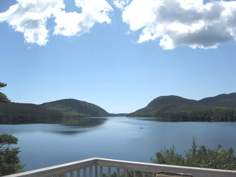 Unsurpassed panorama of Long Pond and Acadia's Western Mountains from the deck - Top O' The Ridge - On Long Pond Overlooking Acadia - Mount Desert - rentals
