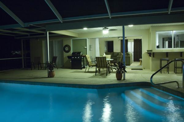 Pool & Lanai Area at Night - Beautiful Port Charlotte Home with Heated Pool!!!! - Port Charlotte - rentals