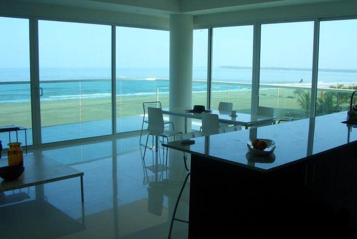 Hear the sound of the ocean from the living area  - Spectacular Beachfront Condo Apartment - Cartagena - rentals