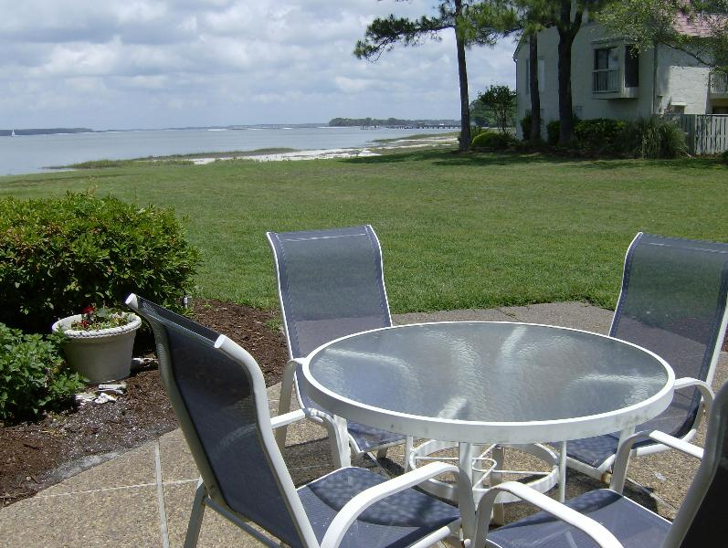 VIEW FROM THE PATIO - 4 bdrm Sea Pines Townhouse w/Calibogue Sound View - Hilton Head - rentals