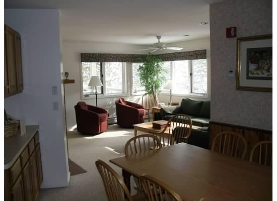 View from Dining Room area through to the living area - Spacious Smugglers Notch 3BR condo - Balsams - Smugglers Notch - rentals