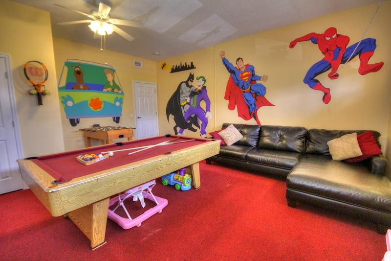Game Room - Air conditioned. Toys, Lego, Wii Fit, Playstation 2, Games, Slate bed pool tbl, foosball - Wow! 7 Bed Lake Villa Pool/24Hr SPA/Gamerm 5 Kings - Kissimmee - rentals