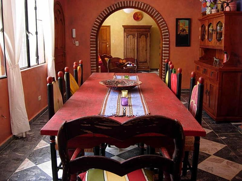 Dining Room is colorful, spacious, and seats 8-10 with ease. - Big and Beautiful House-Walk to Jardin.  Sublet - San Miguel de Allende - rentals