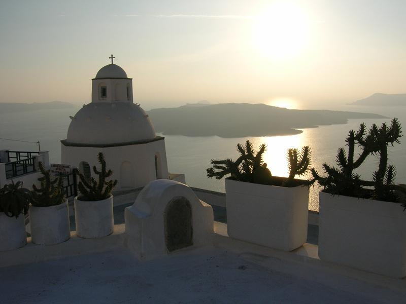 View from the upper terrace - Archaeologists Mansion in Fira, Santorini - Thira - rentals