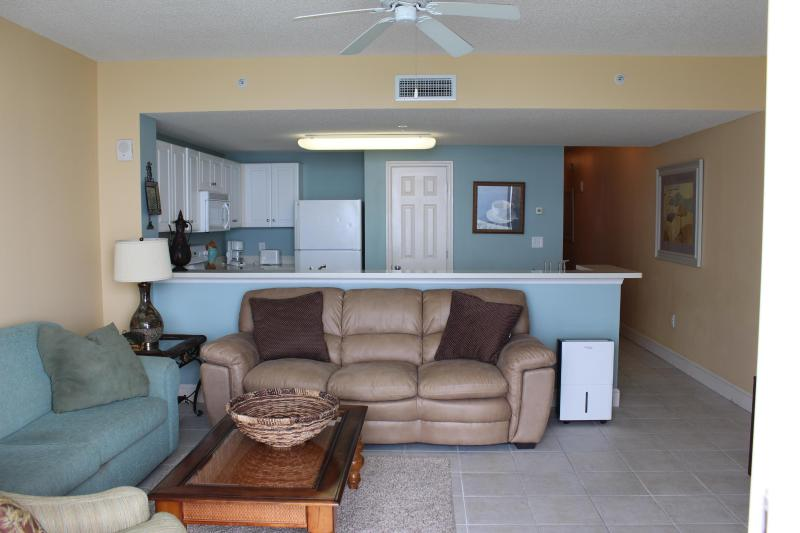 Living Area with Calming, Beachy colors - Beachfront Condo at Majestic Beach Resort - Panama City Beach - rentals