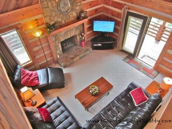 Kum-ba-ya Living Room as viewed from Loft - Kumbaya Log Cabin - Boone - rentals