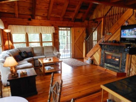 Living Room With Gas Fireplace, Flat Screen and Surround Sound - Moonshine Ridge - Boone - rentals