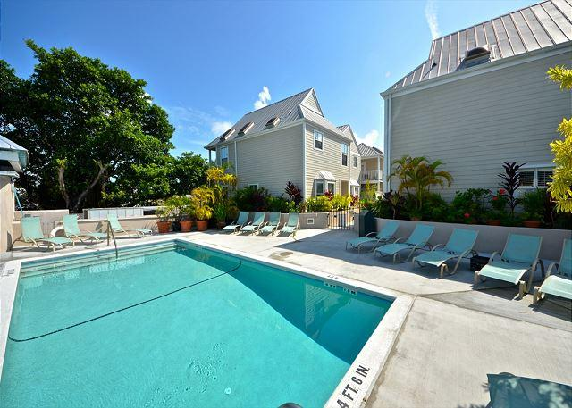 This Pool is The Duval Square Properties' Shared Pool.  The Area Has Comfortable Loungers For Your Relaxation Along With A Covered Deck Area With Additional Seating - Casa Bonita @ Duval Square - Nightly - Key West - rentals