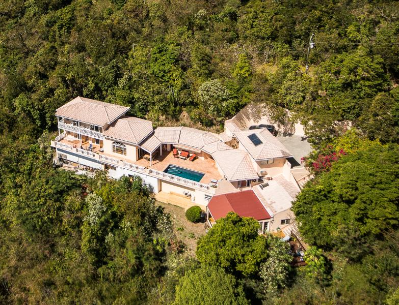 Aerial view of Summer Heights - Affordable 6 Bedroom Luxury Villa With Pool & A/C - Tortola - rentals