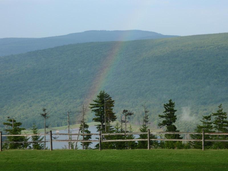 Summer view from our balcony over looking Shaffers Lake - Snowshoes' Best Slope Side Ski In/Out 1 Brm Condo - Snowshoe - rentals