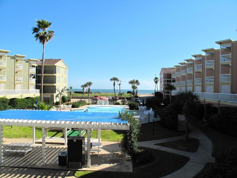 Balcony view of the Gulf and Pool - Ocean View Victorian Style Condo - Galveston - rentals