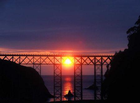 Looking west.  Sunset behind the Albion River bridge. - 2 bedroom cottage on North Calif. Mendocino coast - Albion - rentals