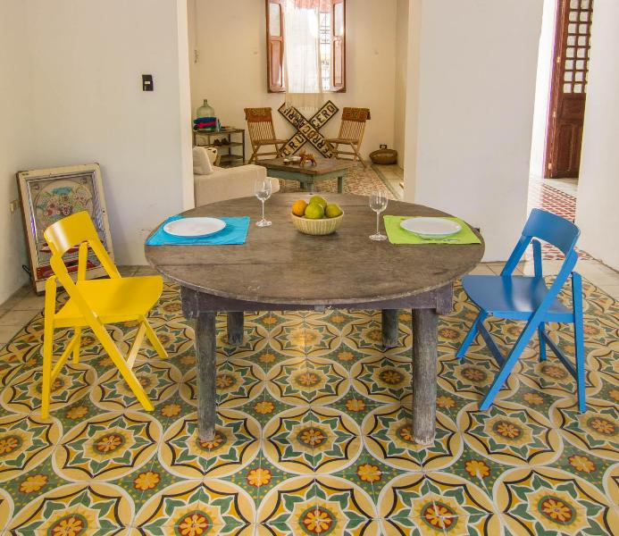 Dining room with colorful pasta tile - Eclectic and Fun near Parque Santiago, Merida - Merida - rentals