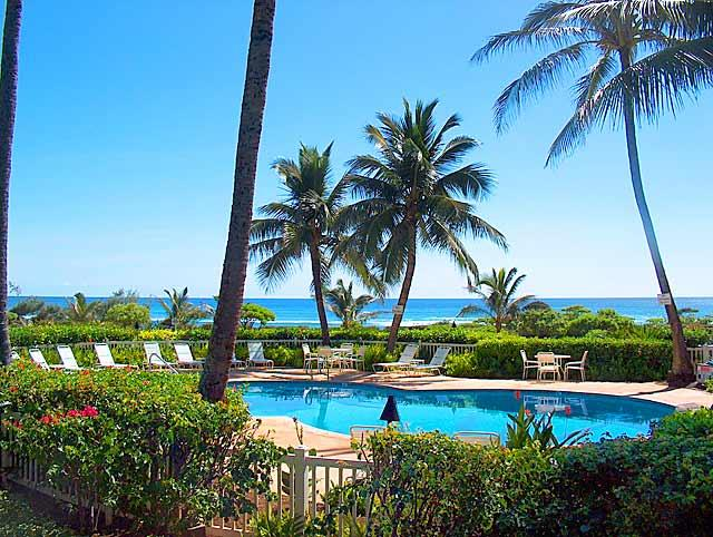 """Heated pool just steps from your lanai and the blue Pacific just steps further - Luxurious 1 BR Oceanfront Condo•Redefine """"Relax"""" - Lihue - rentals"""