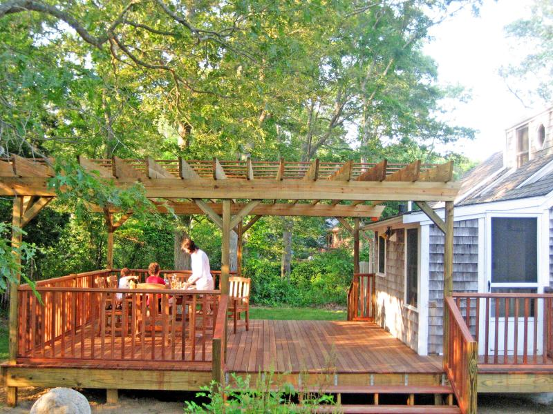 Al fresco dining for 8 on our, spacious Deck in our shady yard near Old Silver Beach - Old Silver Beach....Wonderful! - North Falmouth - rentals