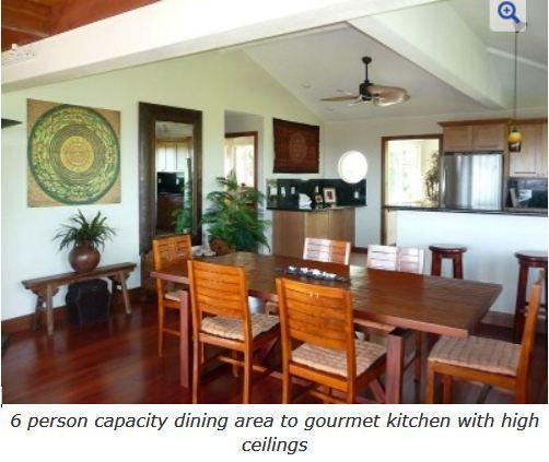 6 person capacity dining area to gourmet kitchen with high ceilings - Luxurious Bali Temple Has 160 Degree Ocean Views! - Pahoa - rentals