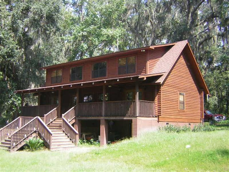 Lake side view of the house - Log Home on Cherry Lake at Georgia Florida Border - Valdosta - rentals