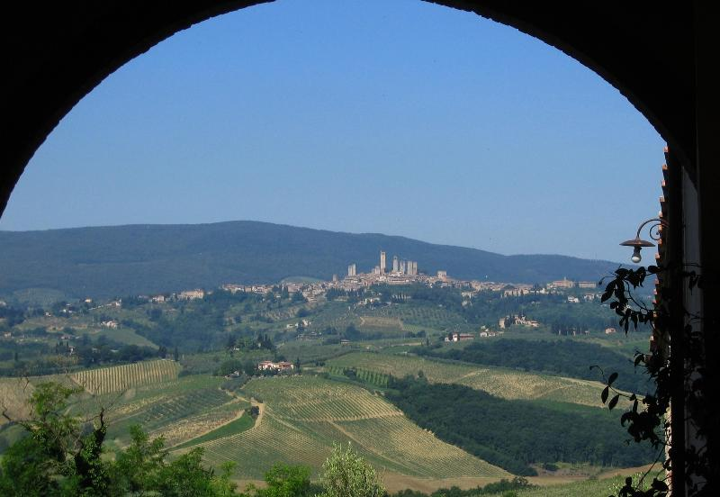 view from our front door - Tuscan countryside apartment in old farmhouse - San Gimignano - rentals