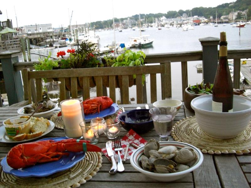 Lobster dinner on the deck - Art Haven; 1 BR waterfront apt. with large deck - Gloucester - rentals