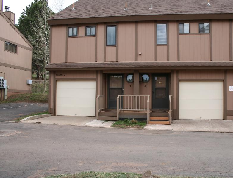 Front of Condo - with 2 extra parking spac - 2 Bedroom, 2 Bth Tri-Level Condo w/Garage & View! - Angel Fire - rentals