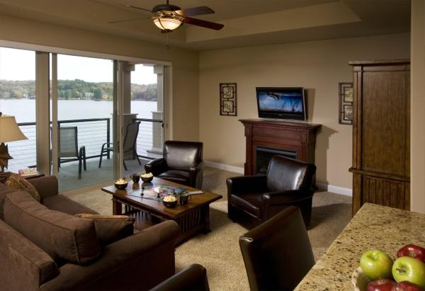 Relax and enjoy the spacious living room - LUXURY ONE BEDROOM LAKEFRONT - Rhapsody Retreat - Wisconsin Dells - rentals