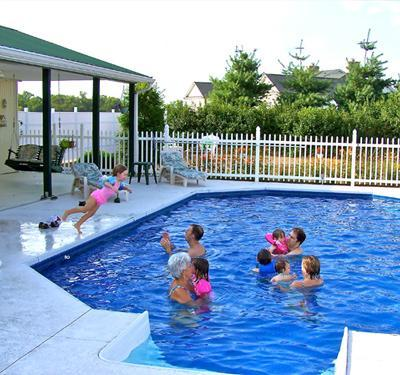 Private pool is 16' x 32' with a shaded pavilion. Pool has 3-ft shallow end and 8-ft deep end.  - Country Getaway w/Pool-Close to Franklin/Nashville - Nashville - rentals
