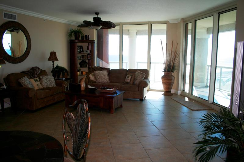 Large living area with views galore! - Luxury Condo at Portofino Resort - Pensacola Beach - rentals
