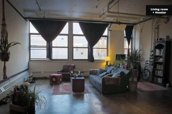 Living Room - Bright, open loft with movie theater. - Brooklyn - rentals