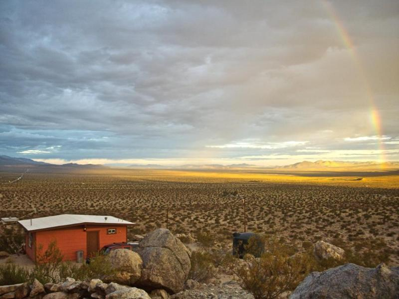 VISTA FROM TOP OF ROCKS BEHIND CABIN WITH RAINBOW - Joshua Tree High Desert Cabin - Joshua Tree - rentals