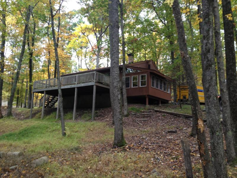 FRONT VIEW OF THE HOUSE - POCONO MTS, PA  - Updated Private Vacation Cabin - Lackawaxen - rentals