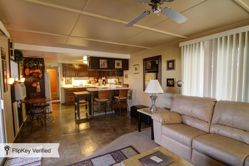 Family Room and Kitchen & Breakfast Bar - Mid Century Adorable Mobile Home Awesome location - Palm Springs - rentals