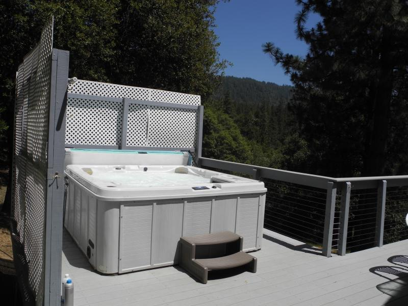 Spa with a view - Knarly Oaks River House with spa, view, 2 decks - Yosemite National Park - rentals