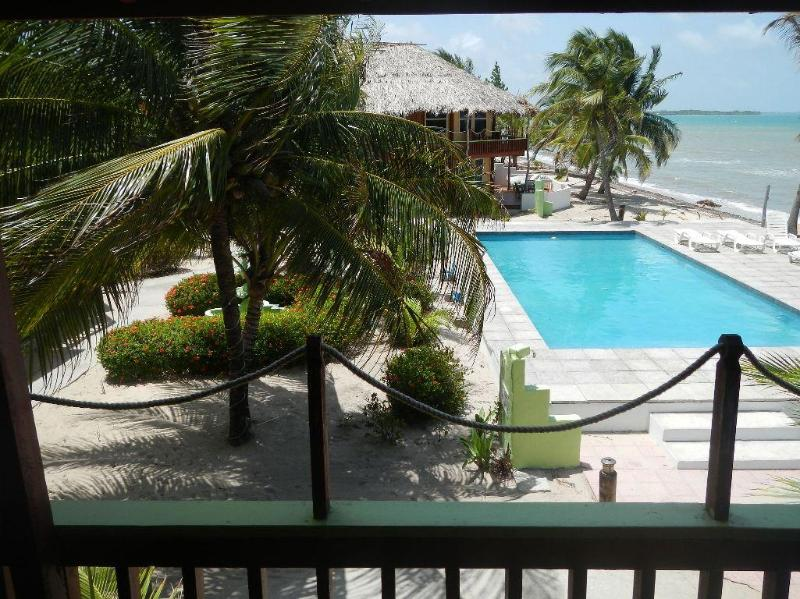 Pool view from balcony - The Red Snapper, Just Steps to the Sea, Plus POOL - Placencia - rentals