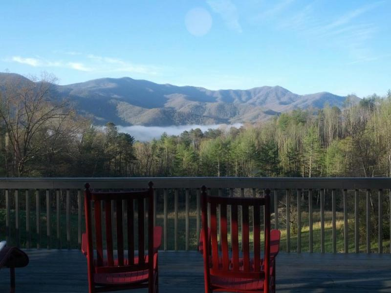Smoky Mountain view from the porch - panoramic views! - The Almond Mountain Lodge - NC Smoky Mountains - Almond - rentals