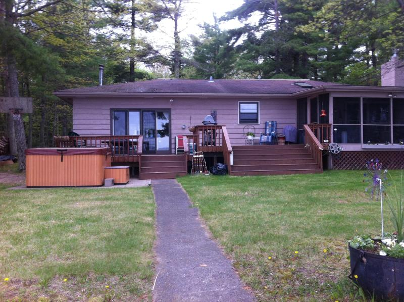 view of cabin from the lake - Family cabin -  excellent for family or friends. - Stone Lake - rentals