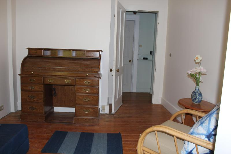 bedroom looking toward entrance - Serene, spacious, roll-top desk, gardens: Garrison - Garrison - rentals