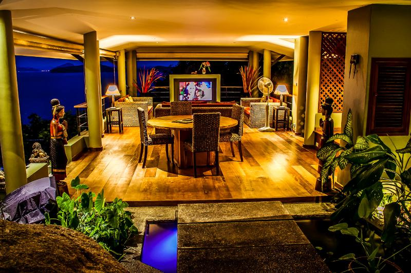 Upper tropical sitting room overlooking salt water swimming pool and ocean - Brand New 3 Bed Villa with Amazing Ocean Views - Lamai Beach - rentals