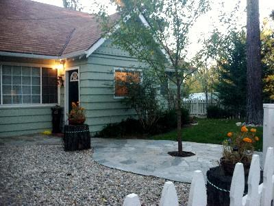 Quaint Courtyard in Front of Cottage - Enchanted Bear Cottage - Great for all seasons! - Big Bear City - rentals