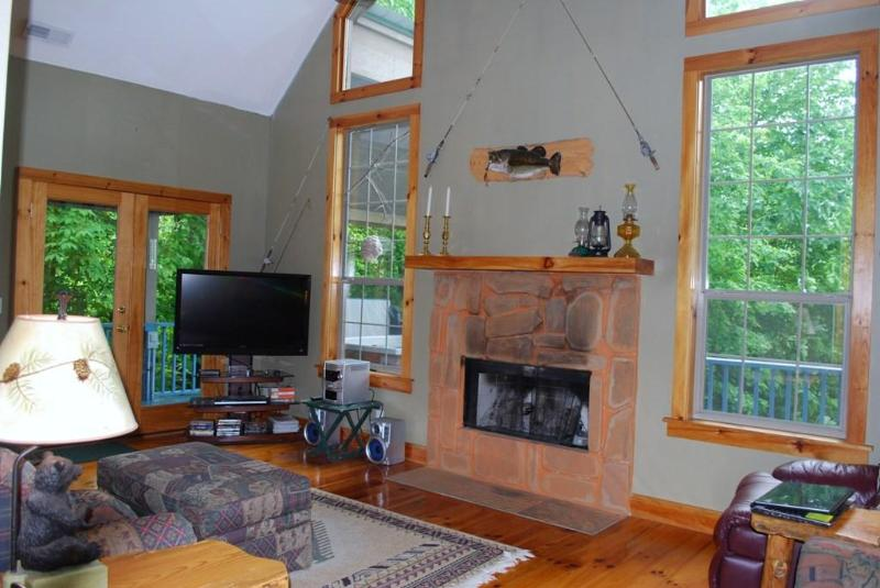 Spacious Den with Gas Log Fireplace and 47