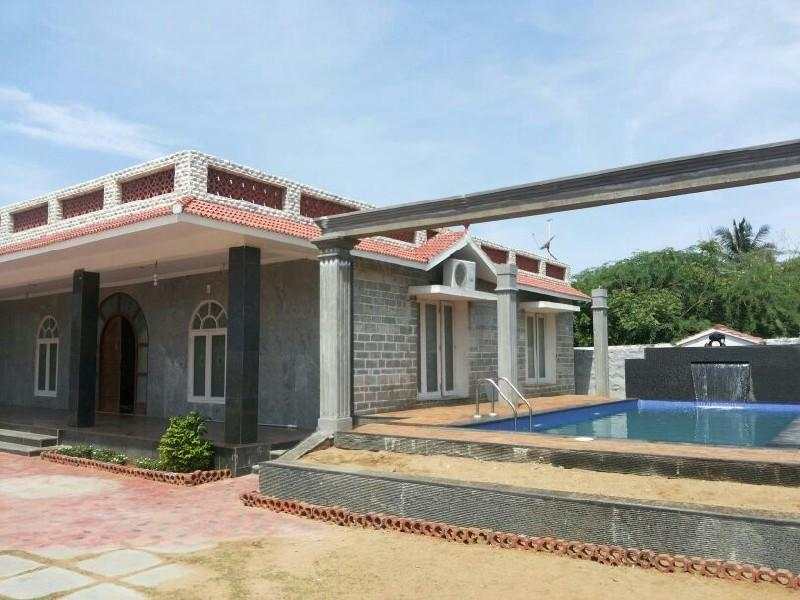 View of the house and pool - Beachhouse with a swimming pool in Chennai on ECR. - Chennai - rentals