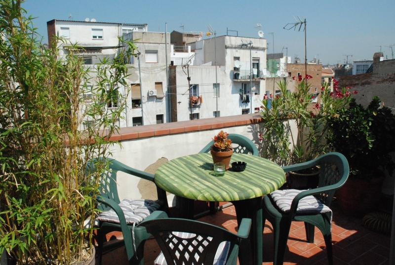 Terrace top dining area with views over barcelona. washing machine to right - SECRET TERRACE - Central Barcelona - 5 star rated! - Barcelona - rentals