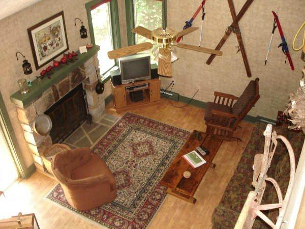 View of Living room from 2nd floor - Pocono Mountains Winter/Summer Townhome - Blakeslee - rentals