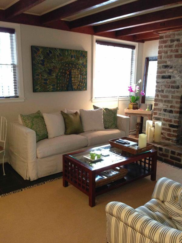 The Living Room with Comfortable Furniture and Bright Green Accents - Garden Level Apt, Newly Renovated, Best Location - Savannah - rentals