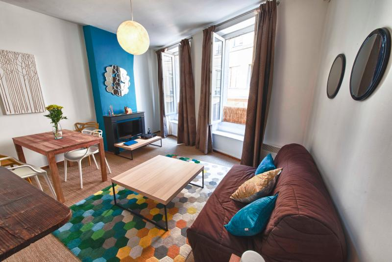 Living room with a traditional Parisian style fireplace - Trendy apartment in the heart of the Latin Quarter -5th district - Paris - rentals