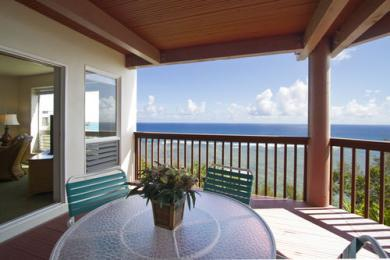 Balcony overlooking golf course fairways - Thanksgiving in Hawaii at Wyndham Ka;Eo Kai - Princeville - rentals