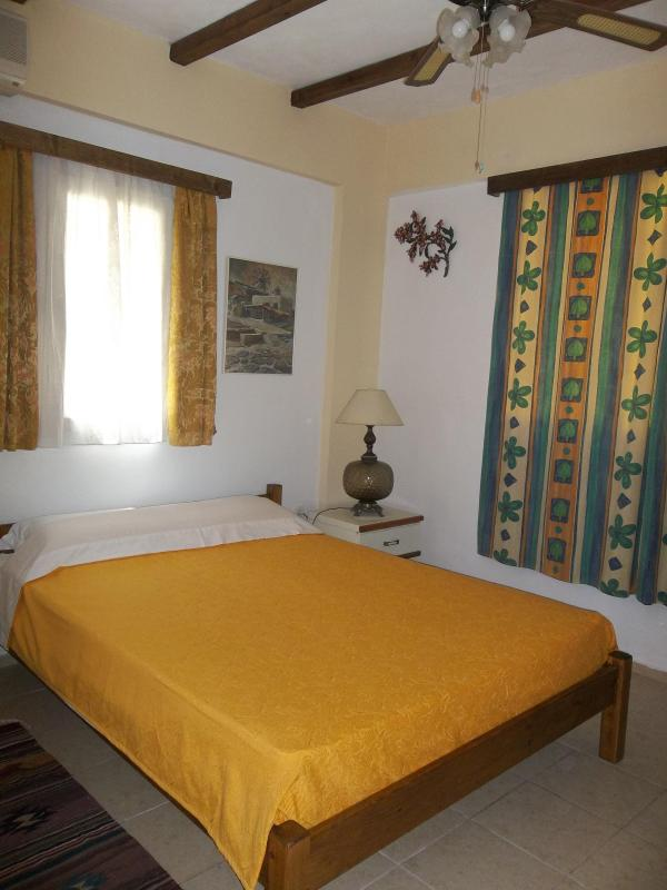 Master bedroom with overhead fan. - 2 bedroom apt  near beach wi-fi - Chios - rentals