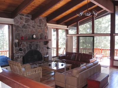 Lovely stone fireplace. The heard of the house. - Lovely North Shore Tahoe Family Home - Kings Beach - Agate Bay - rentals