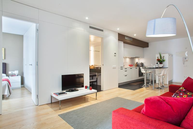 Living Room With TV SAT and DVD - Mistral City Beach Apartment with Pool (2BR) 3.5 - 10% OFF FALL Booking - Barcelona - rentals