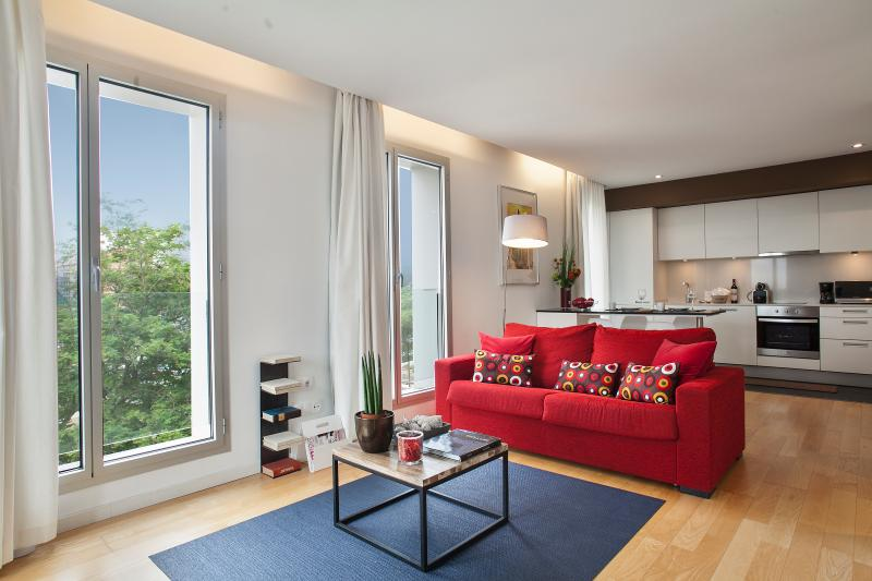 Large living room  - Mistral City Beach Apartment with Pool & Sea view (1BR) 3.3 - 25% OFF on SEPTEMBER Bookings - Barcelona - rentals