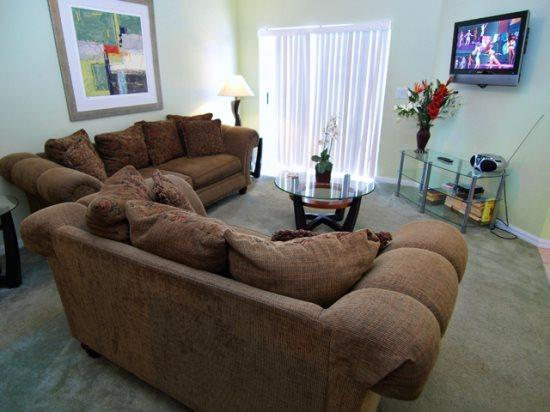 Living Area with Flat Screen TV - W4P129GL 4 BR Holiday Villa with Games Room & Private Pool - Davenport - rentals